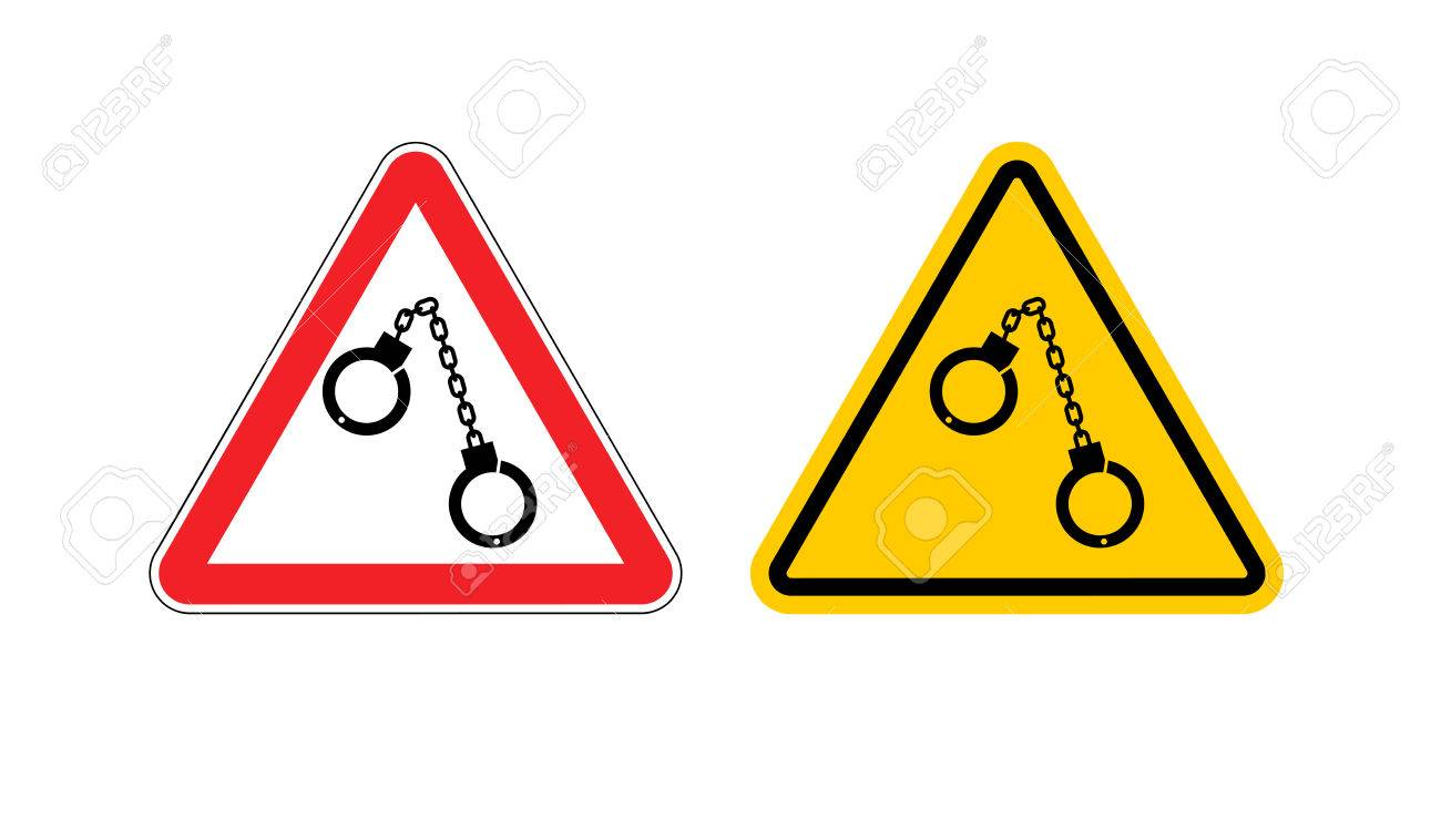 vector warning sign arrest attention dangers yellow sign detention handcuffs on red triangle set road sign against a cop caution police