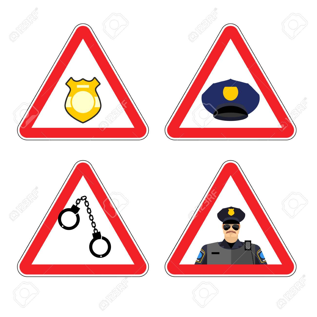 vector warning sign police attention dangers yellow sign detention police badge and police cap set road sign against a cop policeman warning