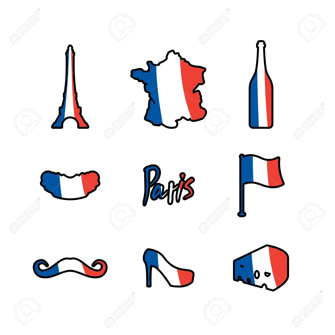paris icons set traditional french national symbols eiffel rh 123rf com French Symbols and Meanings French Revolution Symbols