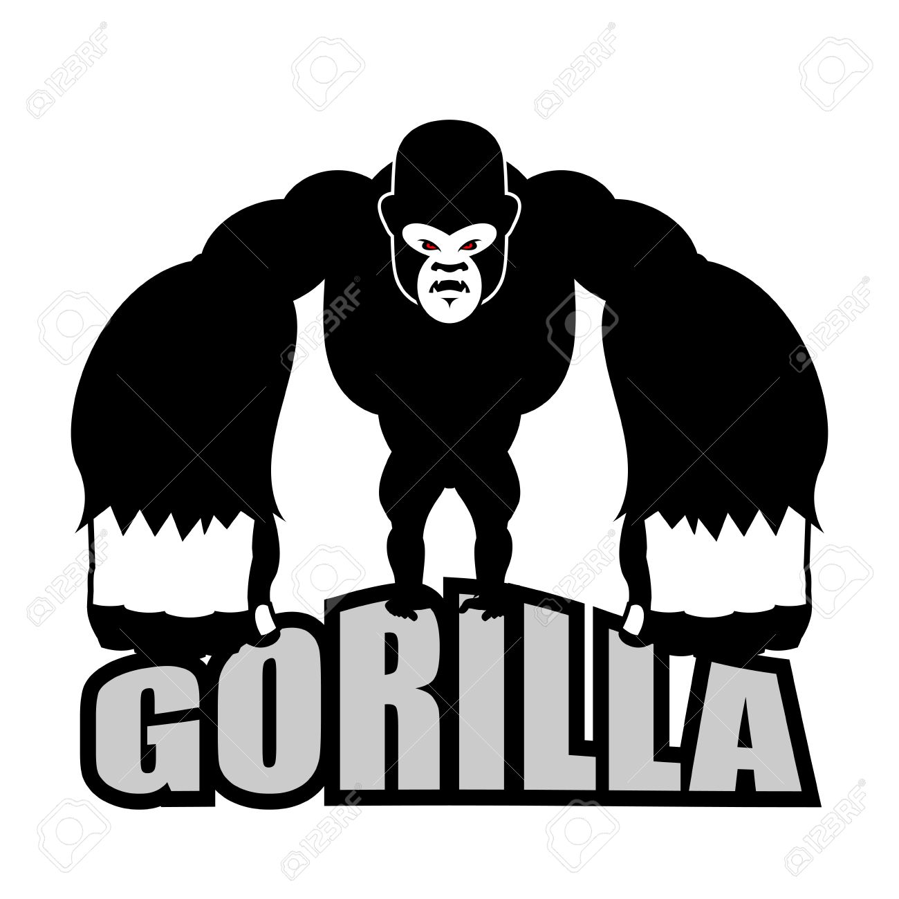 Angry gorilla. Aggressive big monkey. irritated wild animal. - 61912070