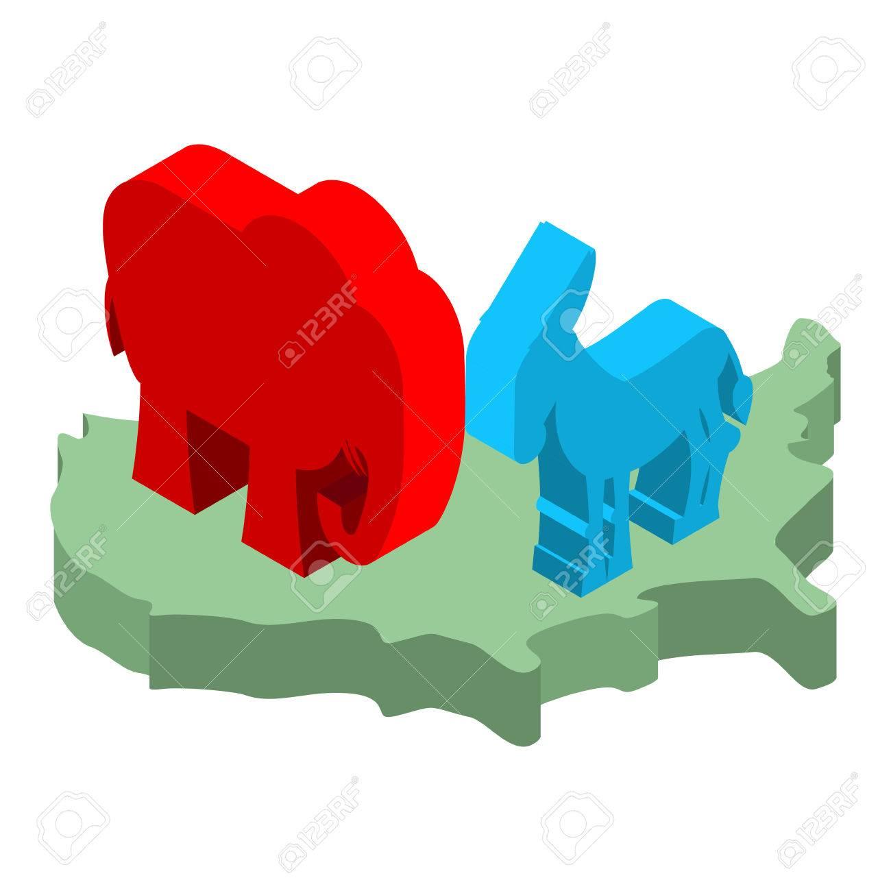 Elephant and donkey on map of america symbols of usa political elephant and donkey on map of america symbols of usa political party democrat and biocorpaavc Choice Image