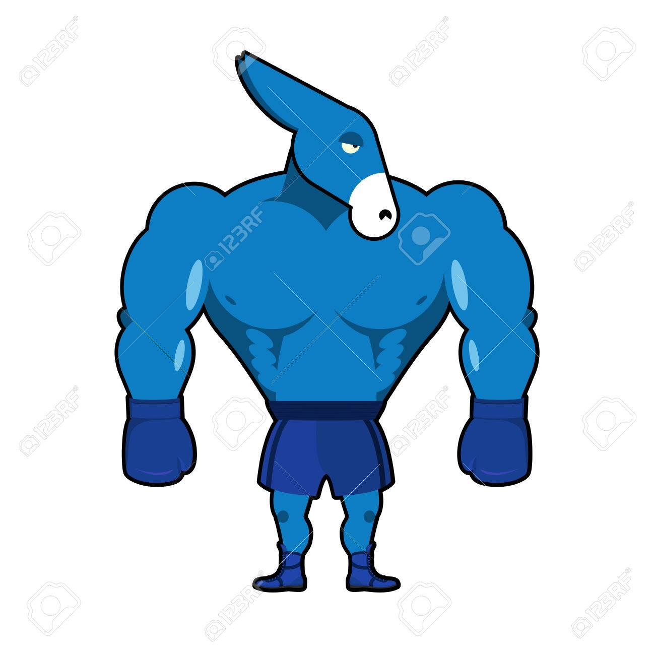 Democrat Donkey Boxer Strong Blue Animal Boxing Gloves Symbol