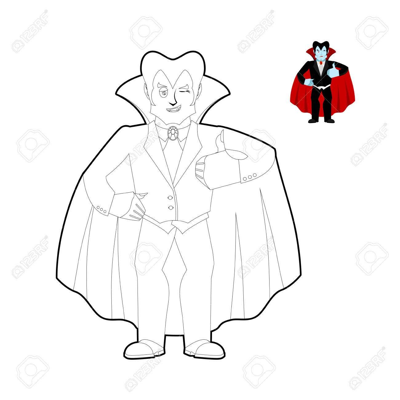 Libro Para Colorear Drácula. La Cuenta Del Vampiro En Estilo Lineal ...