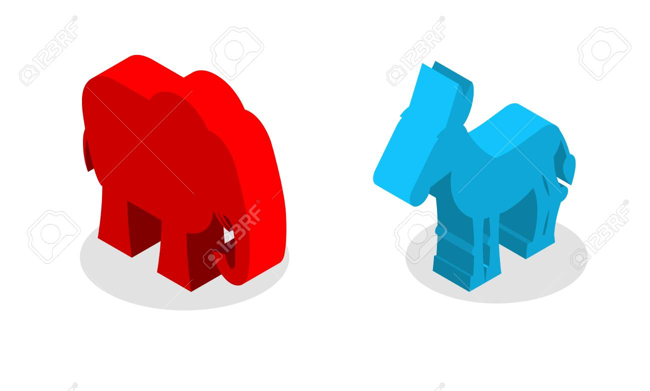 Elephant And Donkey Isometrics Symbols Of Usa Political Party