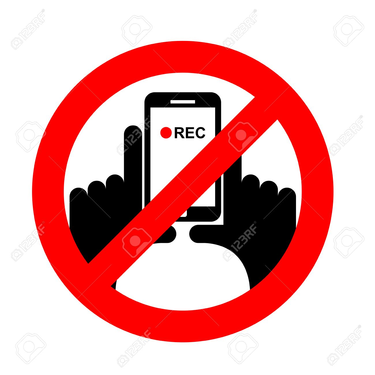 Stop vertical video. It is forbidden to record video. Prohibition sign. Crossed-shooting smartphone. Emblem against vertical videos. Red prohibition sign. Ban record - 62790442