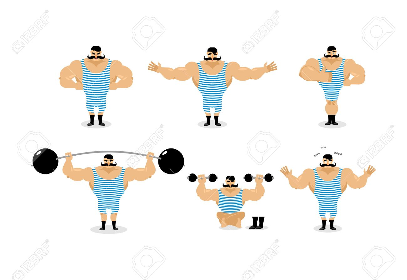 Strong retro athlete set poses. Ancient bodybuilder with mustache emotions. Sportsman in striped suit, and good evil. Sad and happy Strong circus performer. Aggressive and surprised - 62790645