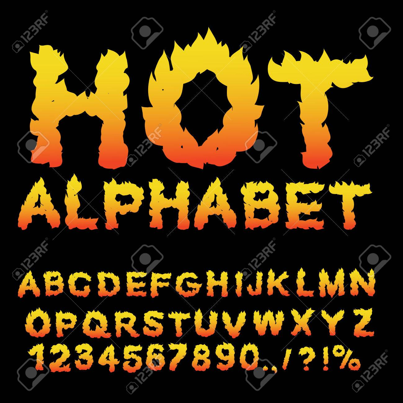 Hot Alphabet. Flame font. Fiery letters. Burning ABC. Fire typography. blaze lettring - 63819740