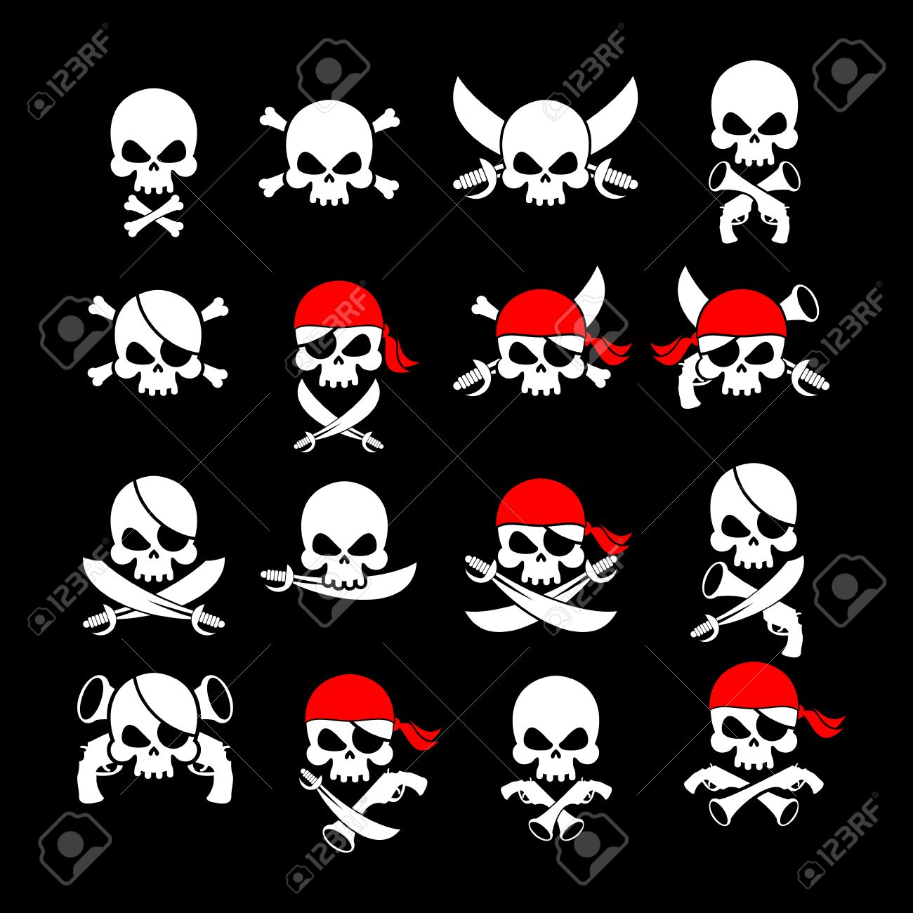 Jolly roger pirate flag skull and crossbones skeleton head skull and crossbones skeleton head in sling swords buycottarizona Images