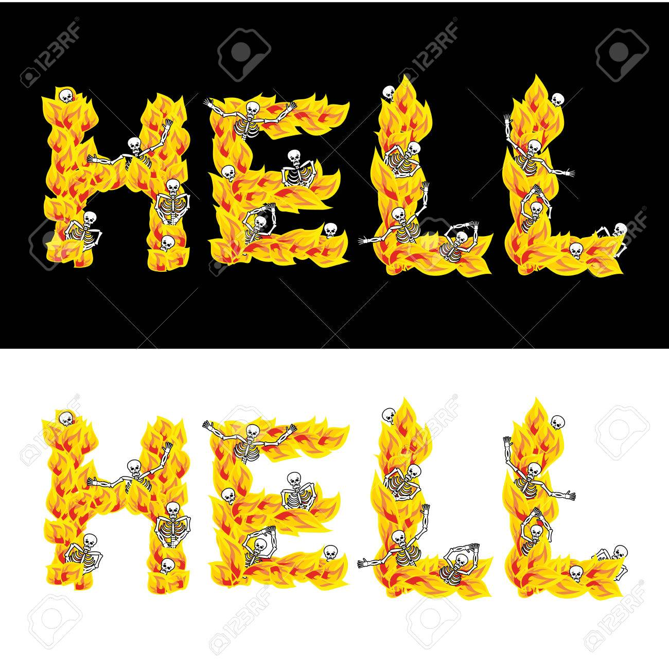 Hell text fire letters skeletons in inferno sinners in gehennal hell text fire letters skeletons in inferno sinners in gehennal satanic symbol buycottarizona Images