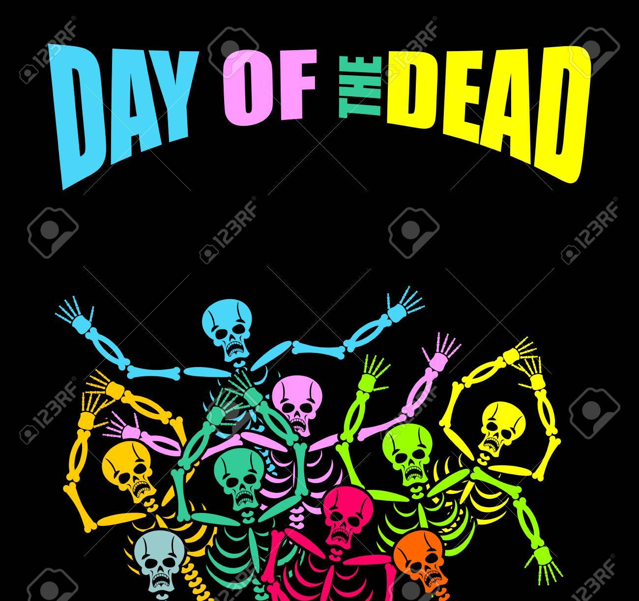 Día Del Esqueleto Muerto Multicolor. Cráneo De Color. Muerto Fondo ...