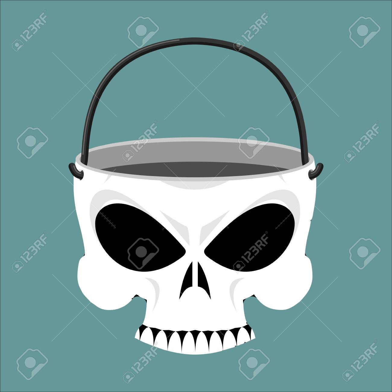 Skull jewelry box. Skeleton basket. Terrible pirate jewellery - 64467071