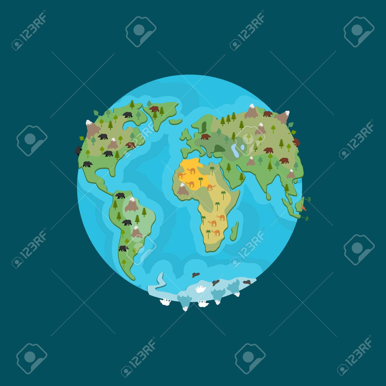 Planet Earth And Animals Beast On Continents World Map