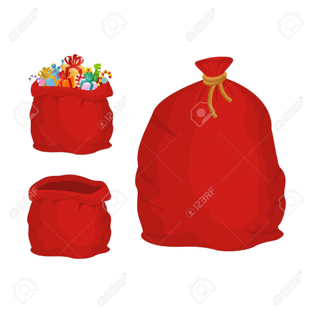 Red sack. Large holiday bag Santa Claus for gifts. Big bagful for new year and Christmas - 64467272