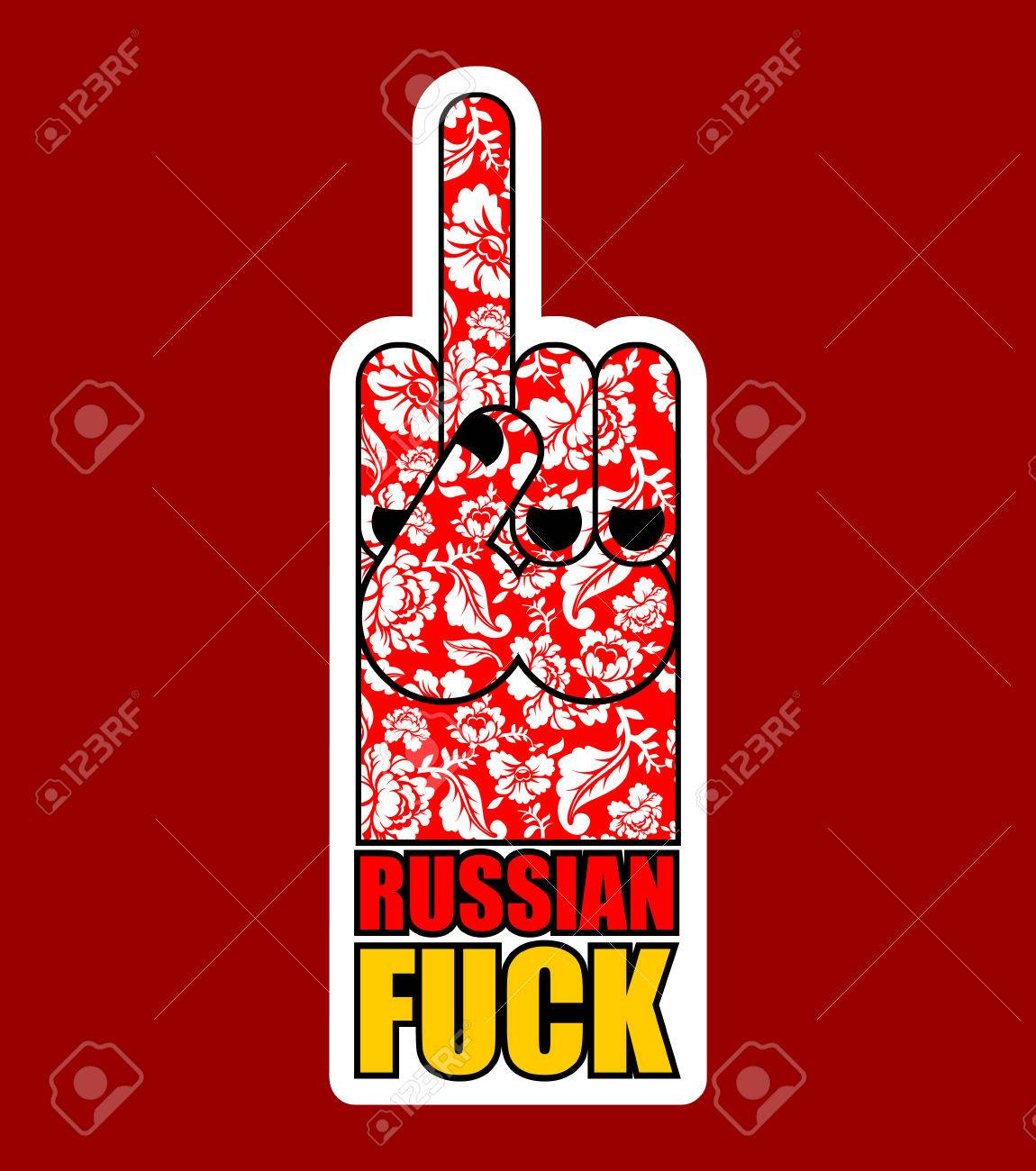 Russian Provocative Emblem Hand Shows Bully And Hooligan Sign