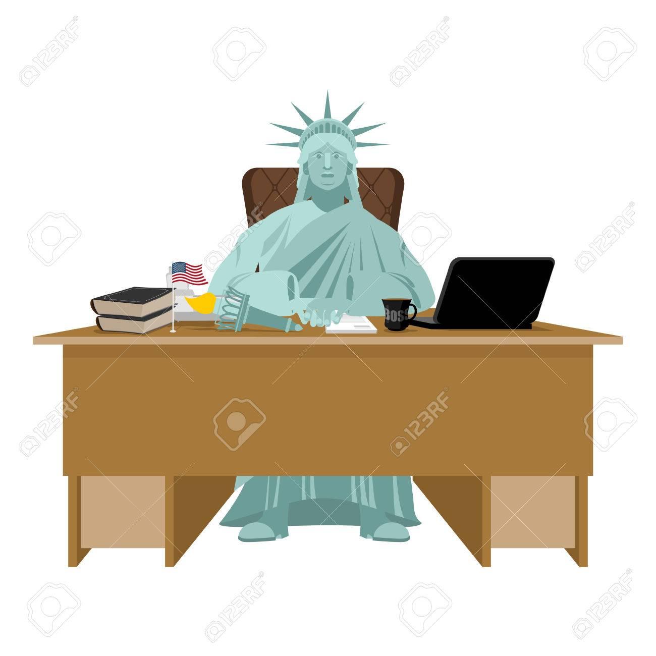 Vettoriale Statua Della Liberta Seduto In Ufficio Capo Americano Al Tavolo Imprenditore Da Stati Uniti Alla Scrivania Supervisore Sul Posto Di Lavoro Direttore Desktop Laptop E Telefono Tazza Di Caffe E