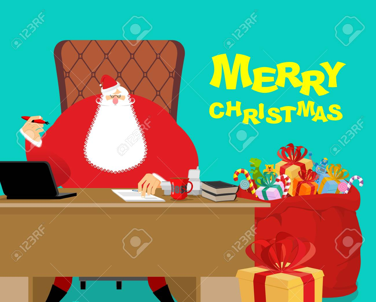 Merry Christmas Boss.Merry Christmas Santa Claus At Work Big Red Bag With Gifts