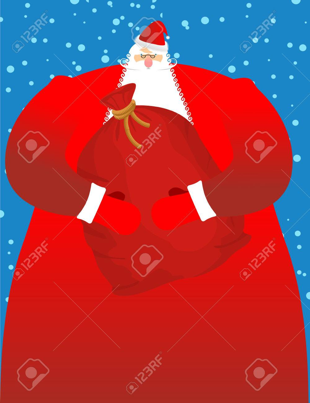 Santa Claus Mit Sack Geschenke. Große Rote Festliche Tasche. Großer ...