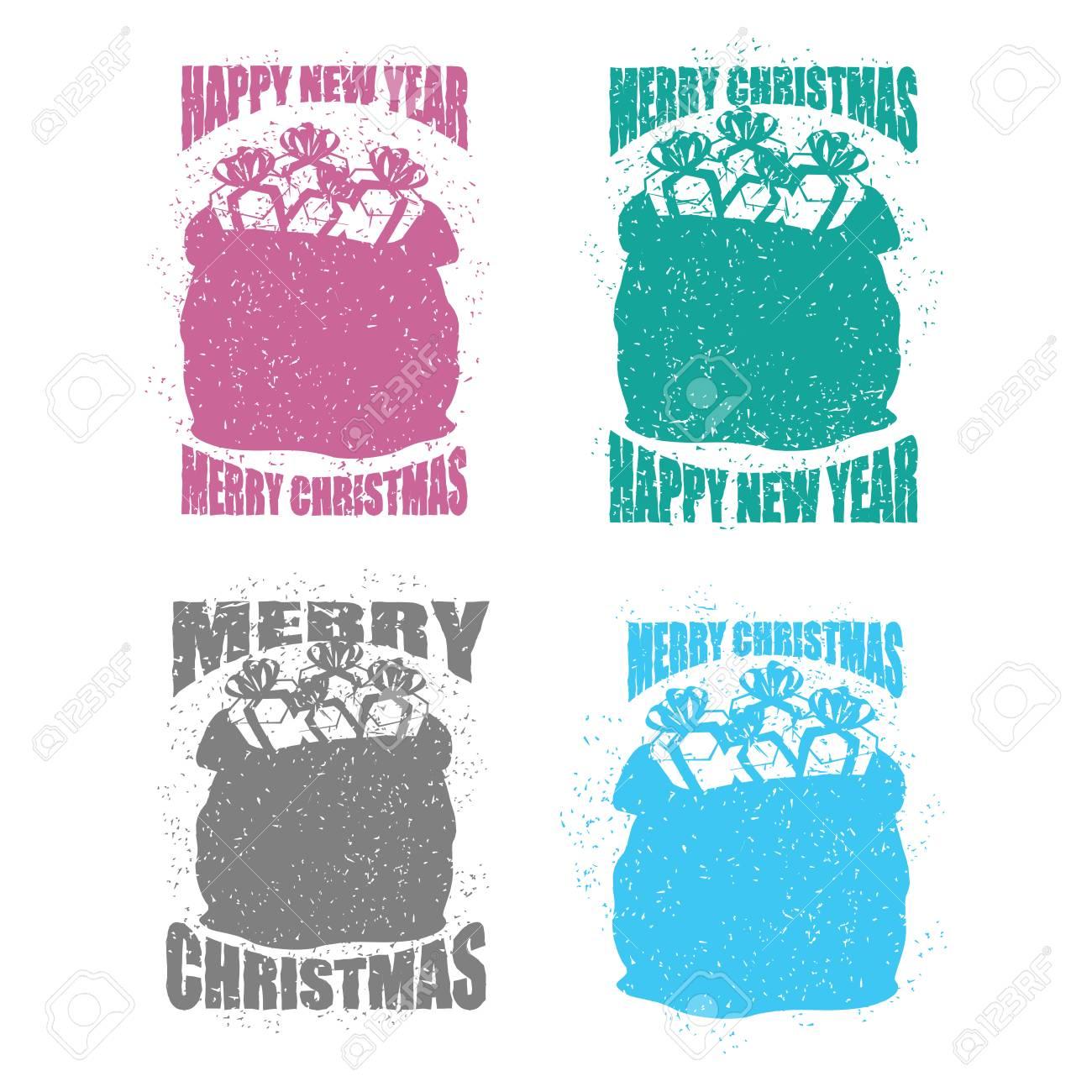 Weihnachten Vorlage Grußkarte Moderne Set. Weihnachtsmann Rote ...