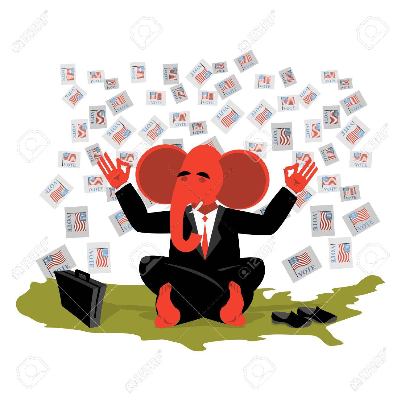 Red Elephant Republican Meditates Votes In USA Map Symbol Of
