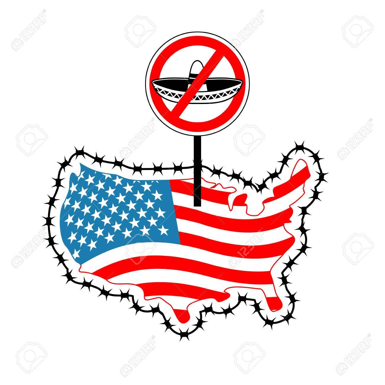 US Schließt Grenze Zu Mexiko. Stoppen Sie Sombrero. Karte Von ...