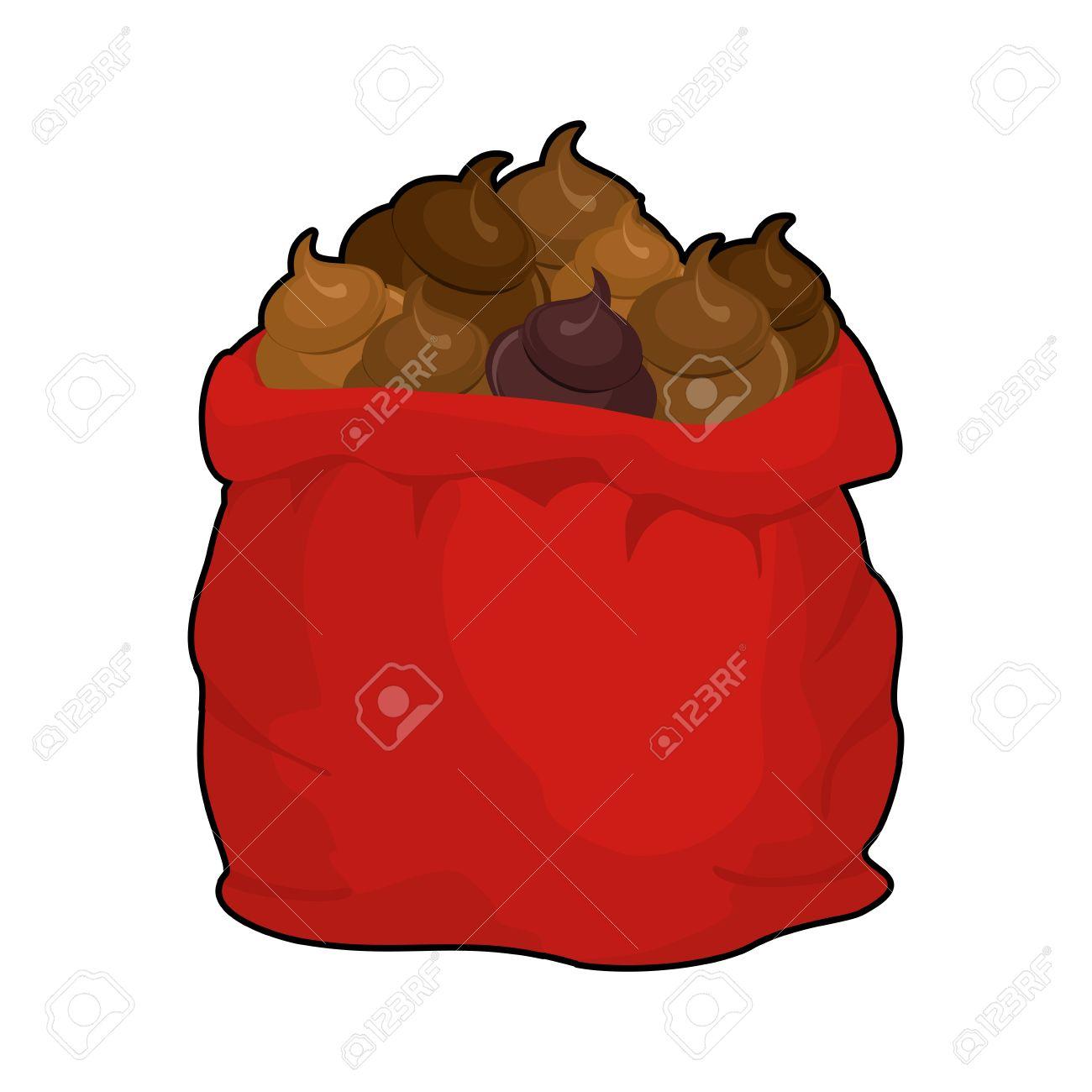 Sankt Scheiße Tasche. Voller Sack Turd. Große Rote Weihnachten ...