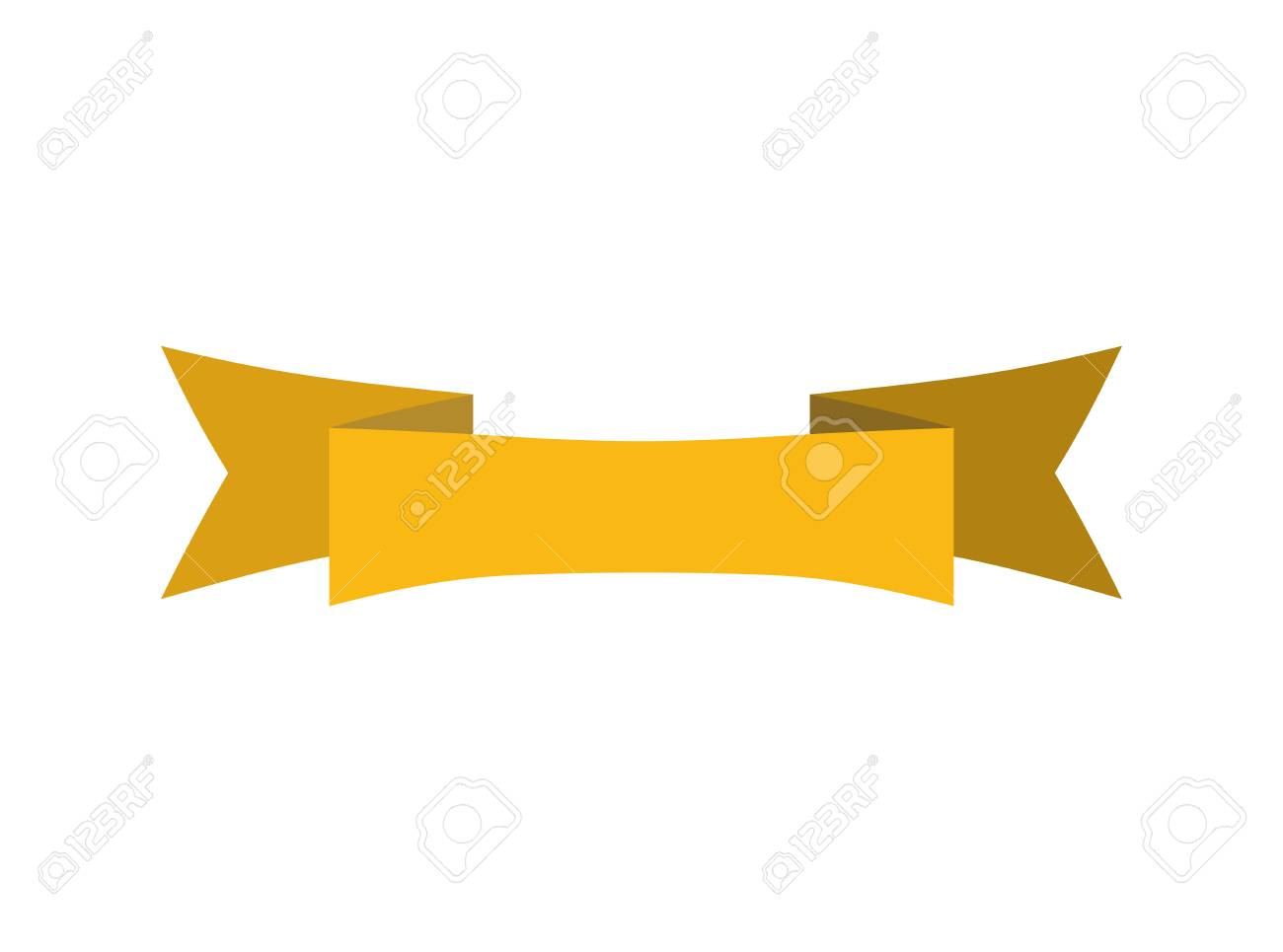 ribbon isolated template yellow decorative tape for heraldry