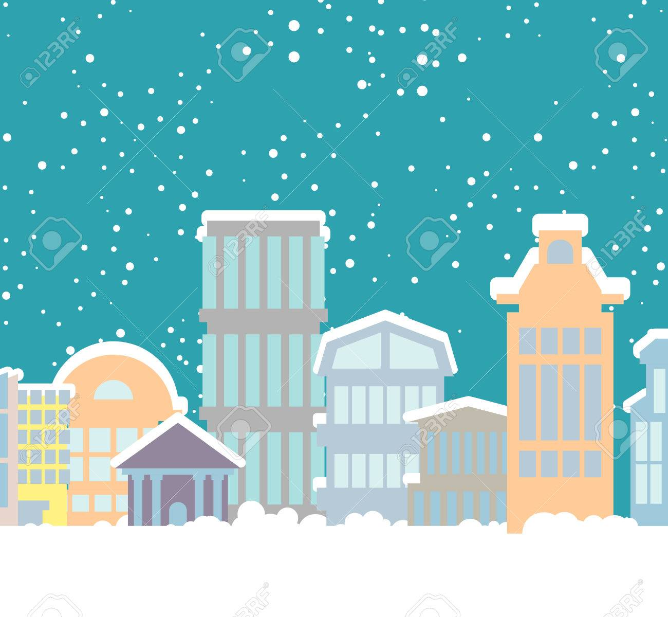 vector winter christmas city buildings in snow snowfall in town new year background