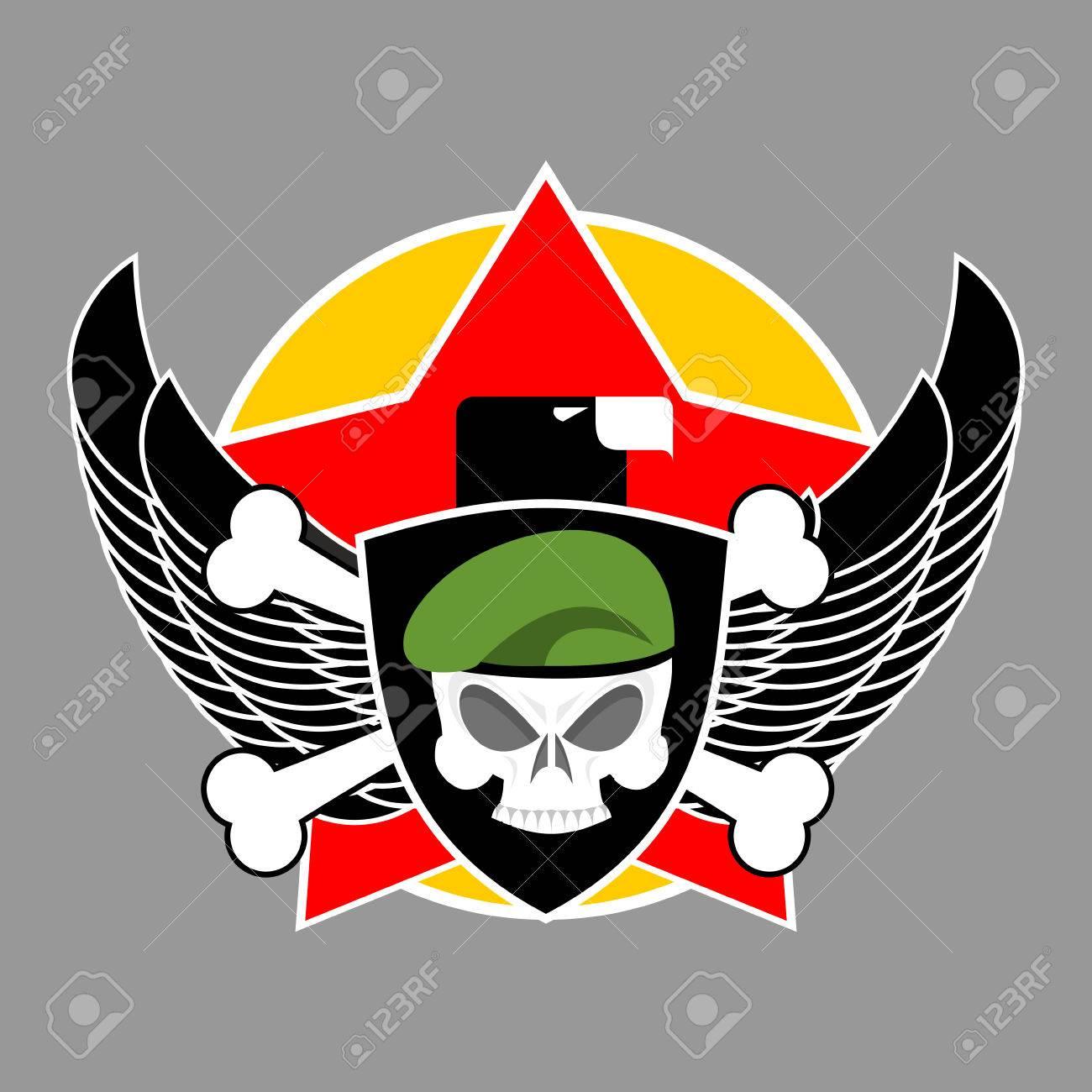 military emblem army soldiers badge skull in beret wings rh 123rf com Bird Wings Vector Aviation Wings Vector