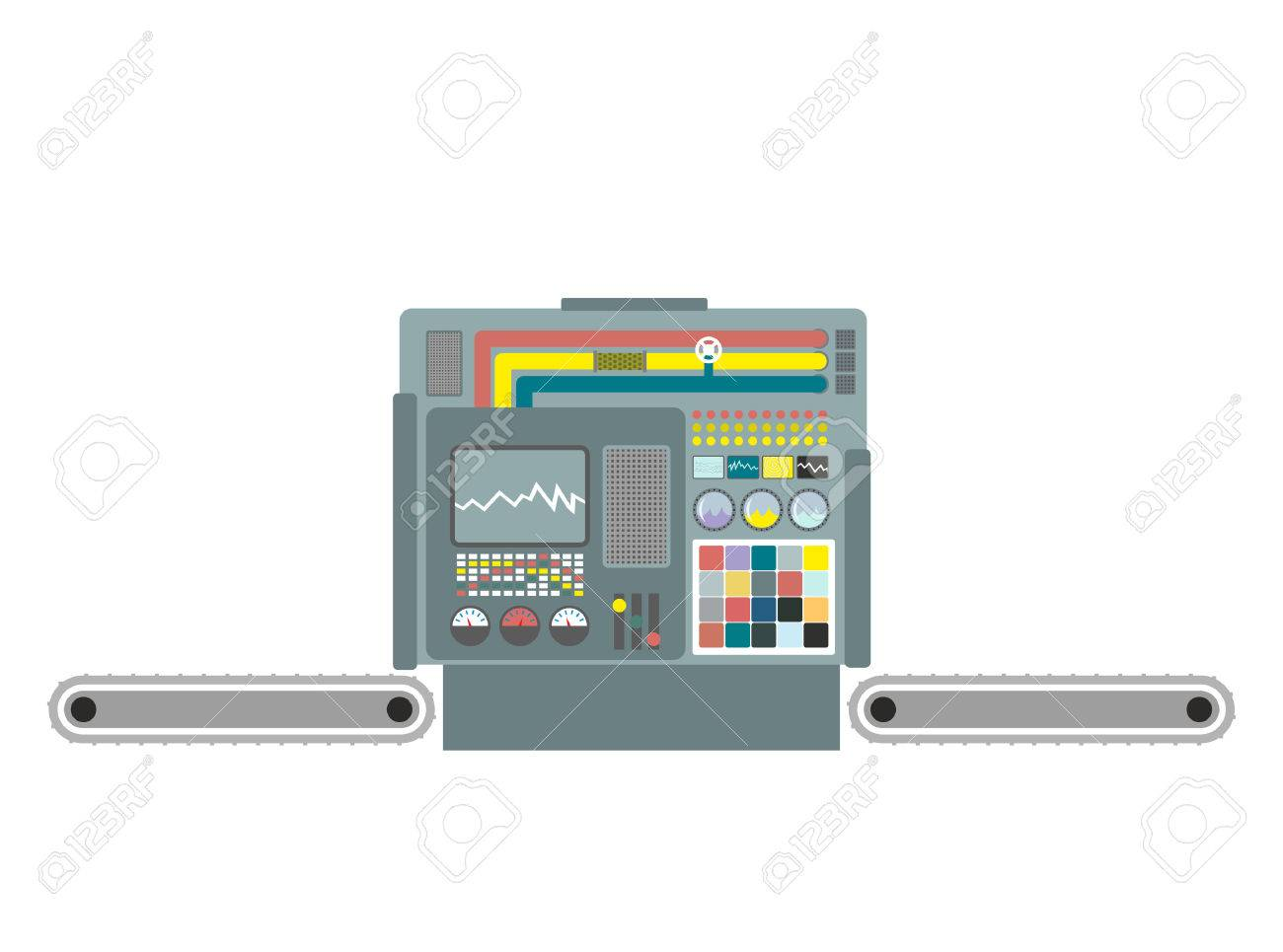 Industrial machine. Construction equipment factory. Panel production control system. Industrial group. Buttons and screens and sensors. - 66680628