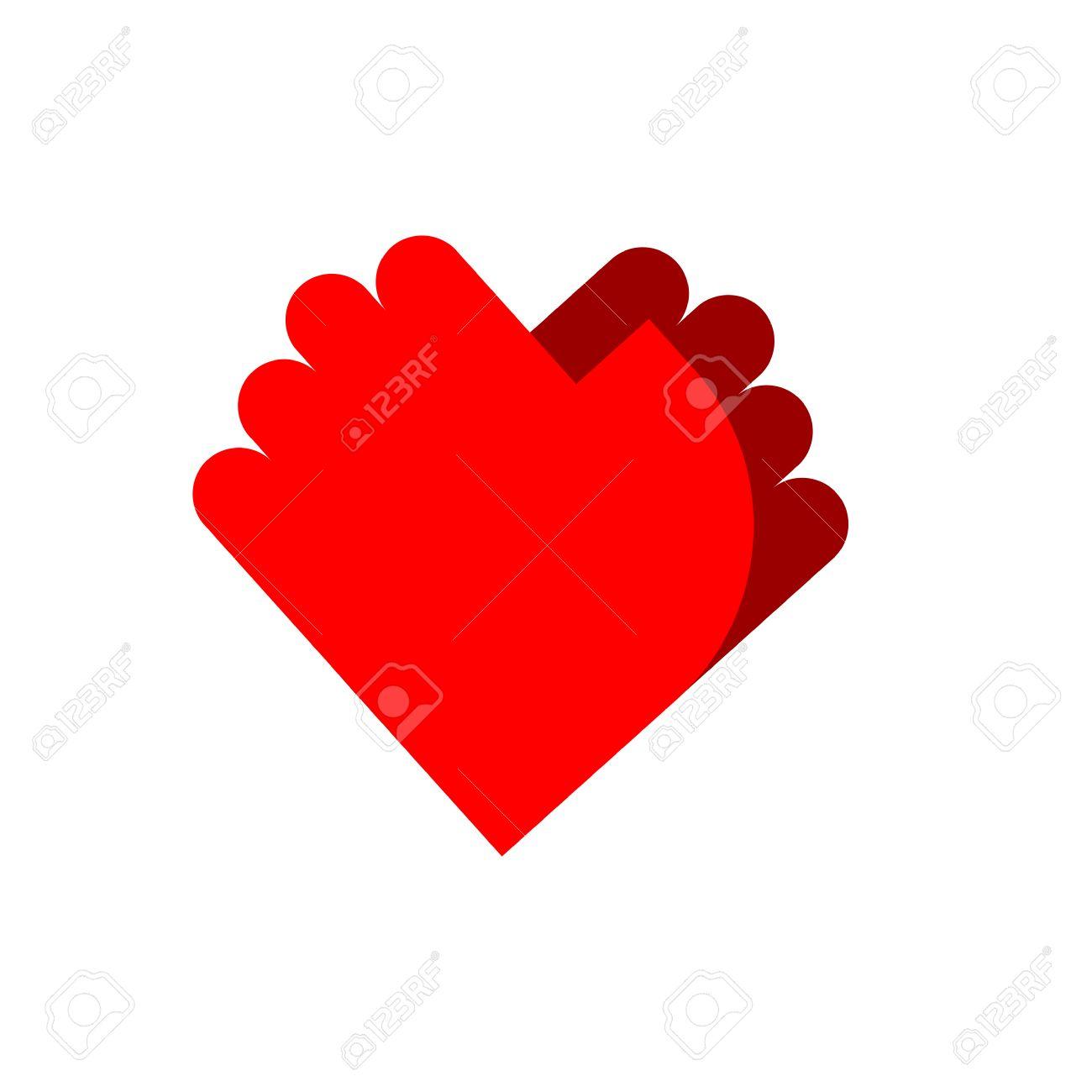 Friendship Palm Emblem Two Hands Symbol Love Royalty Free
