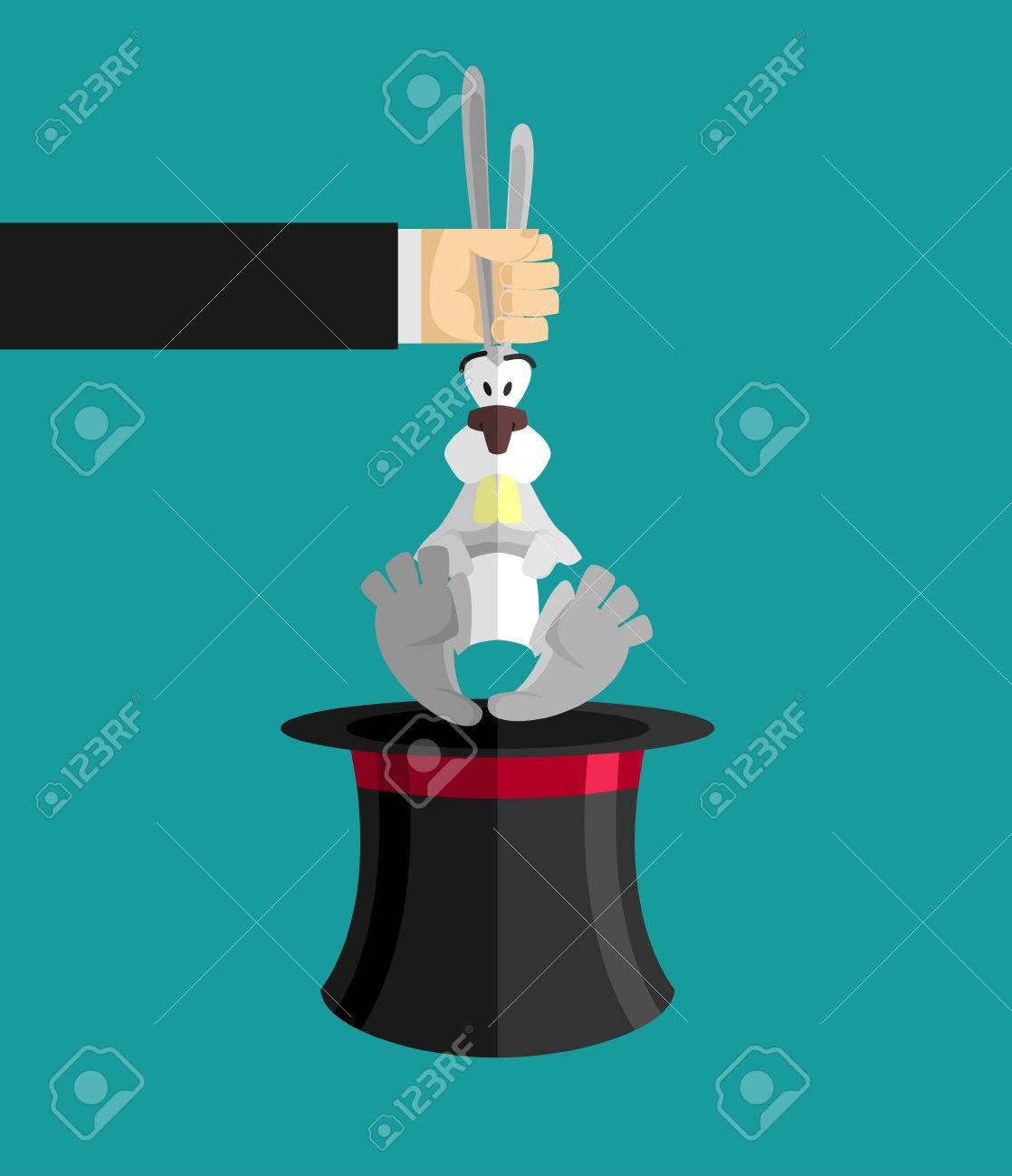 Foto de archivo - Truco de magia de conejo en el sombrero. Mágico gorra y  conejo. ilusionista animales 30641949cc5