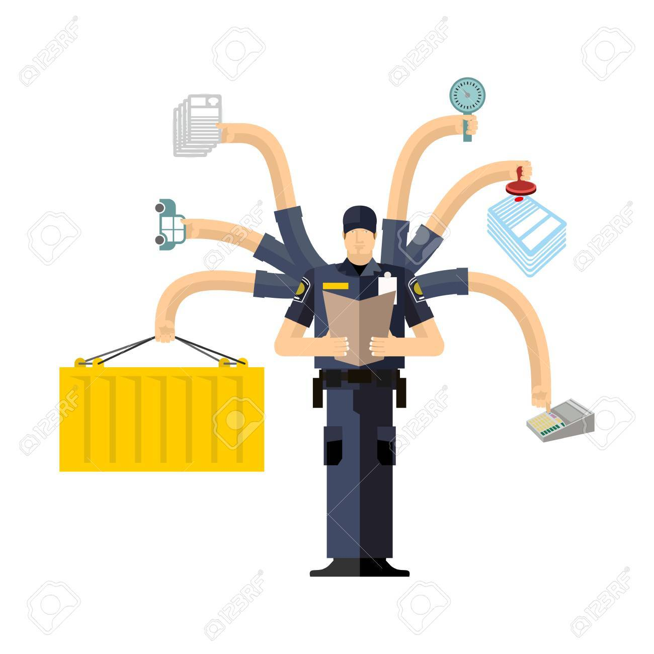 Border Services Agency work. CBSA clerk. Customs officer job. Checking of cargo. Delivery and weighing. Declaration and agreement. Passport control - 66683833
