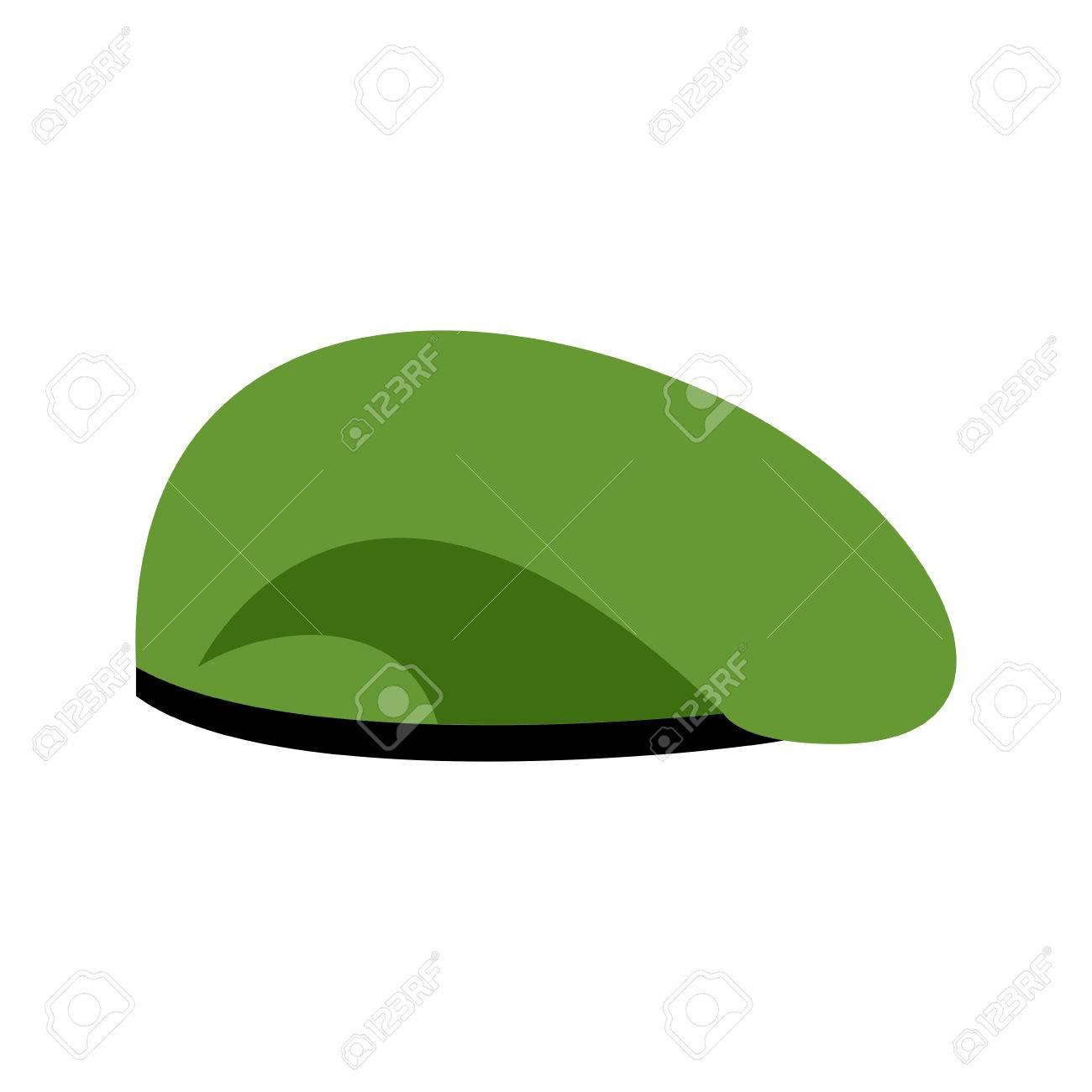 c8069996ae7 Beret military Green. Soldiers cap. army hat. War barret Stock Vector -  66680550