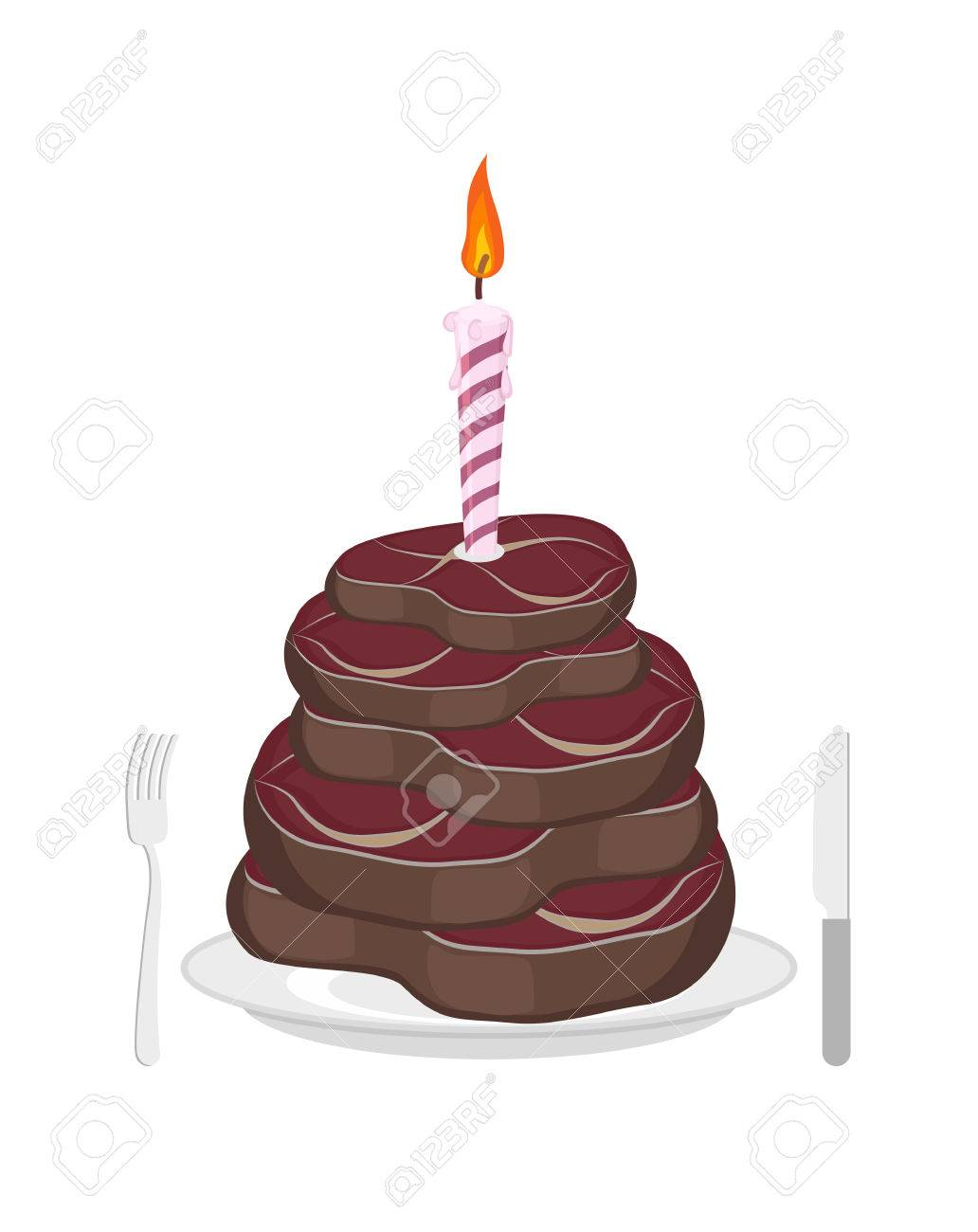 Magnificent Meat Cake Steak And Candle Congratulations Happy Birthday Men Funny Birthday Cards Online Inifofree Goldxyz