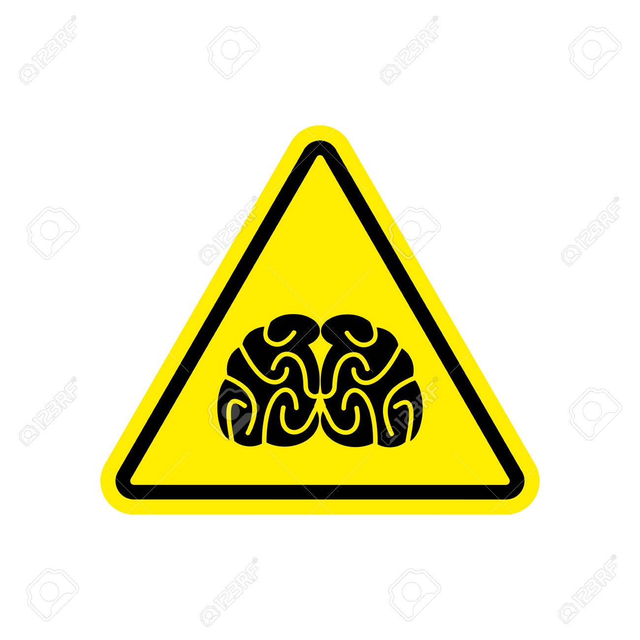 How Students Brains Are In Danger On >> Brains Warning Sign Yellow Think Hazard Attention Symbol Danger