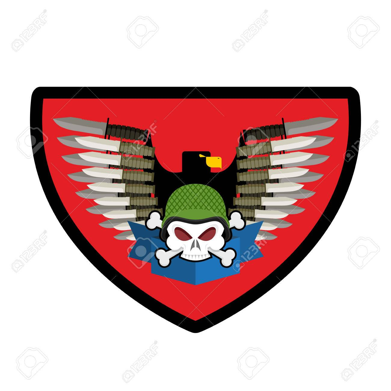 army skull soldiers badge military emblem wings and weapons rh 123rf com Bird Wings Vector Angel Wings Vector