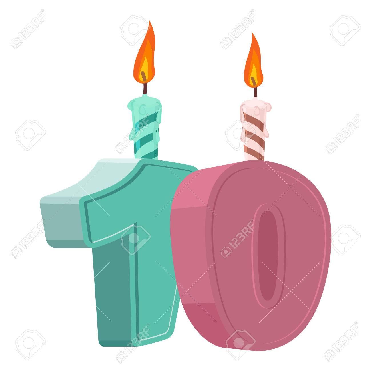 10 Ans D Anniversaire Nombre Avec La Bougie De Fête Pour Le Gâteau De Vacances Dix Anniversaire