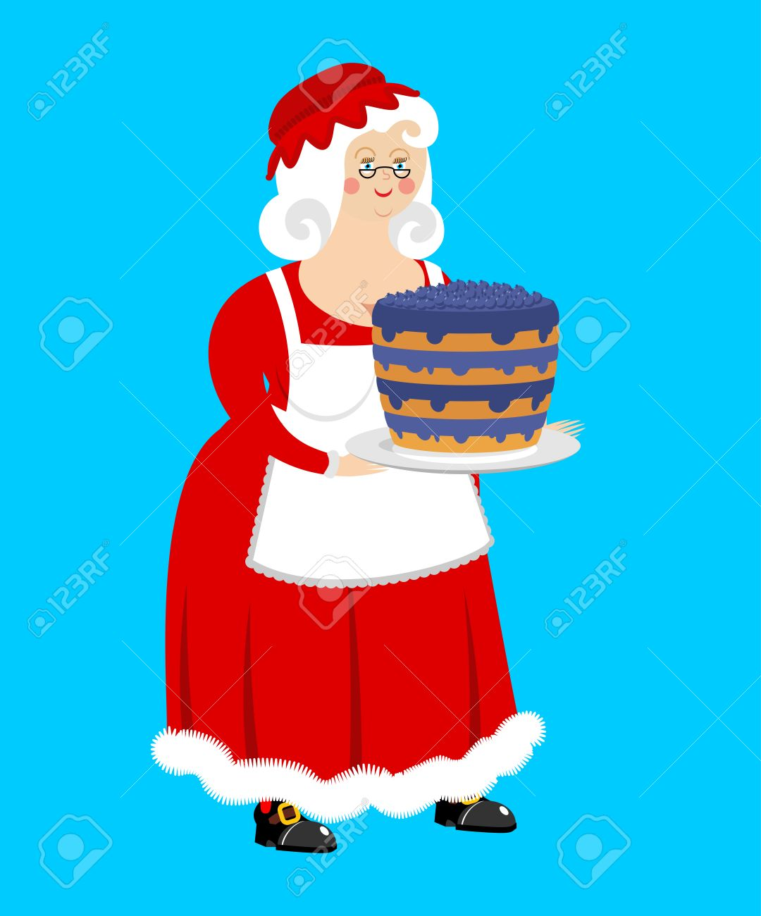 mrs claus and blueberry cake wife of santa claus and dessert rh 123rf com mrs. claus clipart black and white mrs santa claus clipart