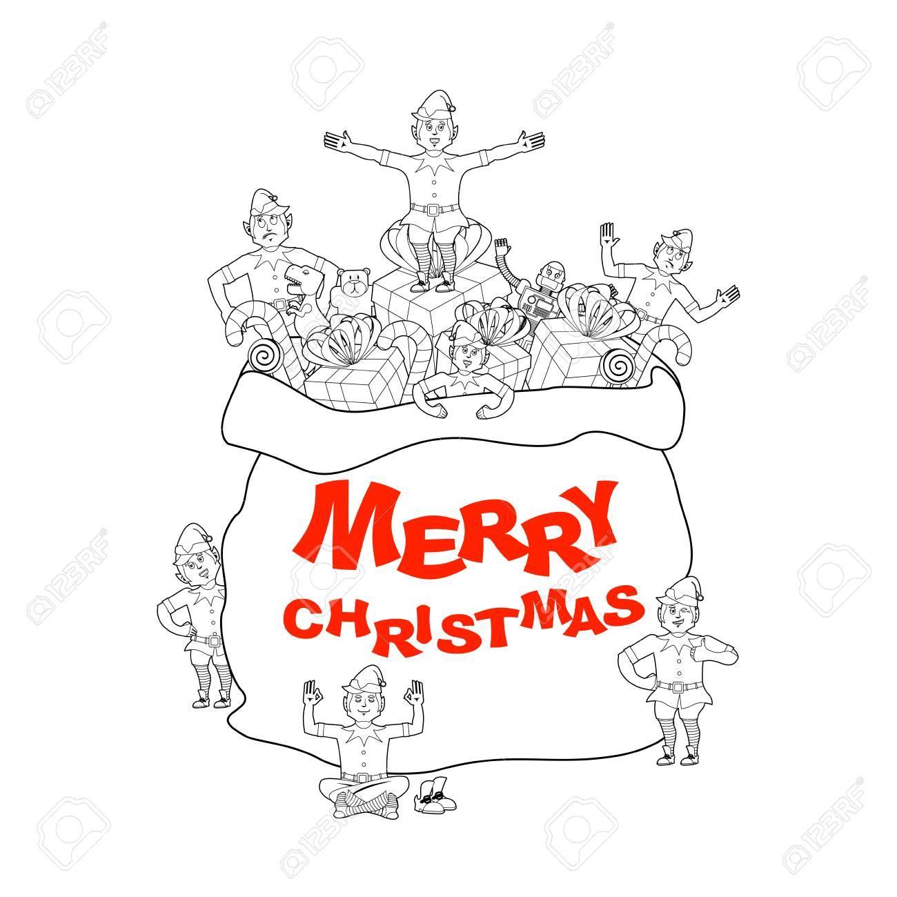Weihnachtsbeutel Mit Geschenk Und Elfen. Fröhliche Weihnachten. Big ...