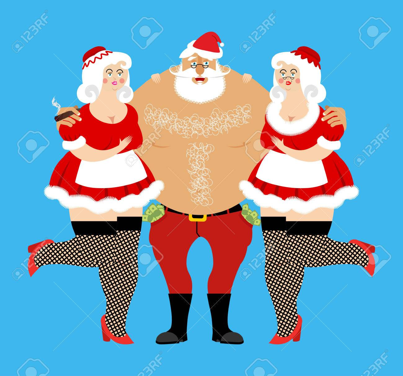 Santa Claus And Sexy Girls Entertainment For Adults Strippers Hugging Man With Money