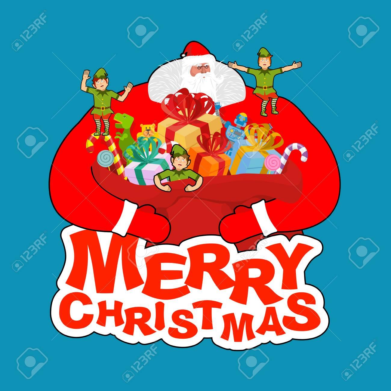 Fröhliche Weihnachten. Santa Claus Und Tasche Und Elf Helfer ...