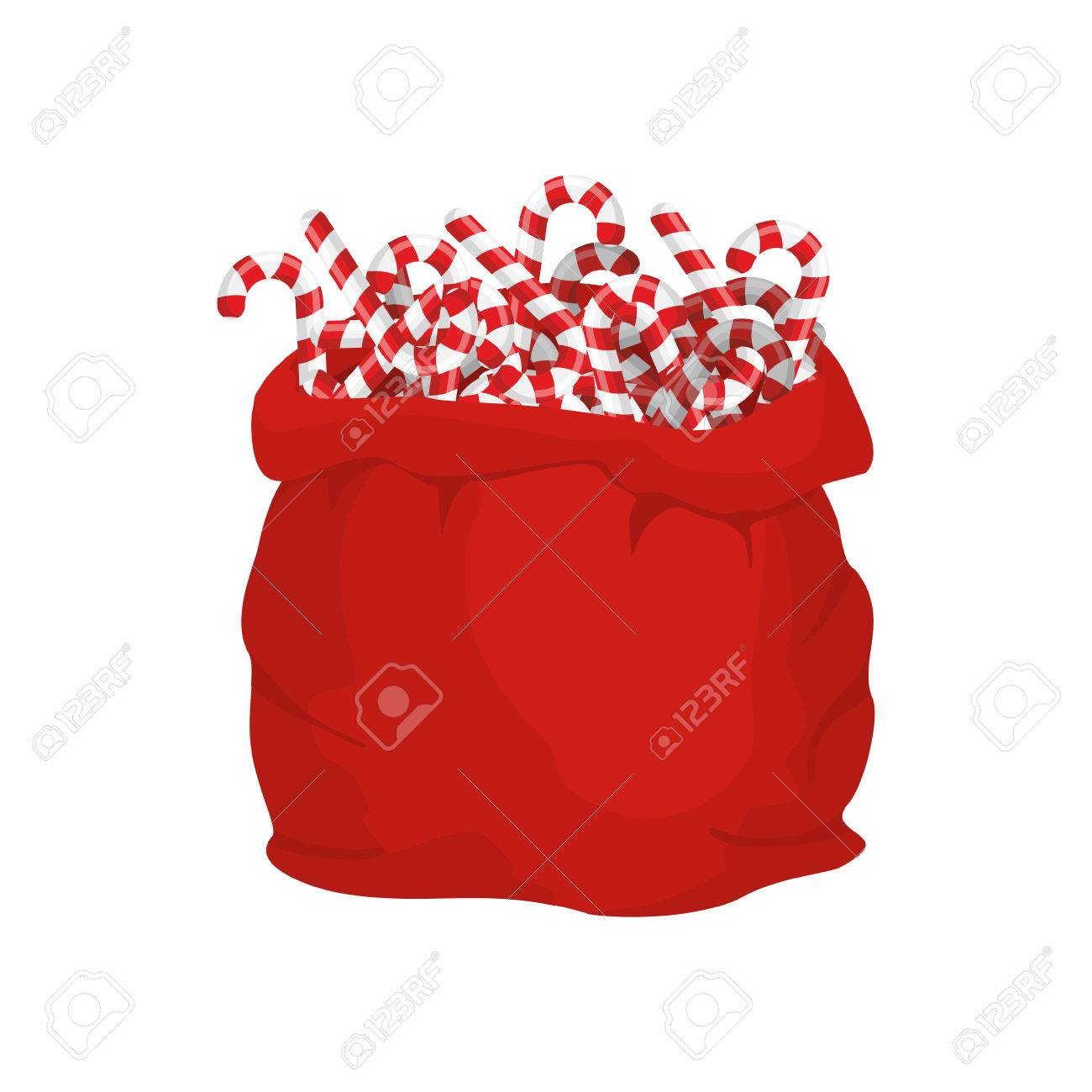 Santa Bag Of Christmas Peppermint Lollipop Christmas Sack And