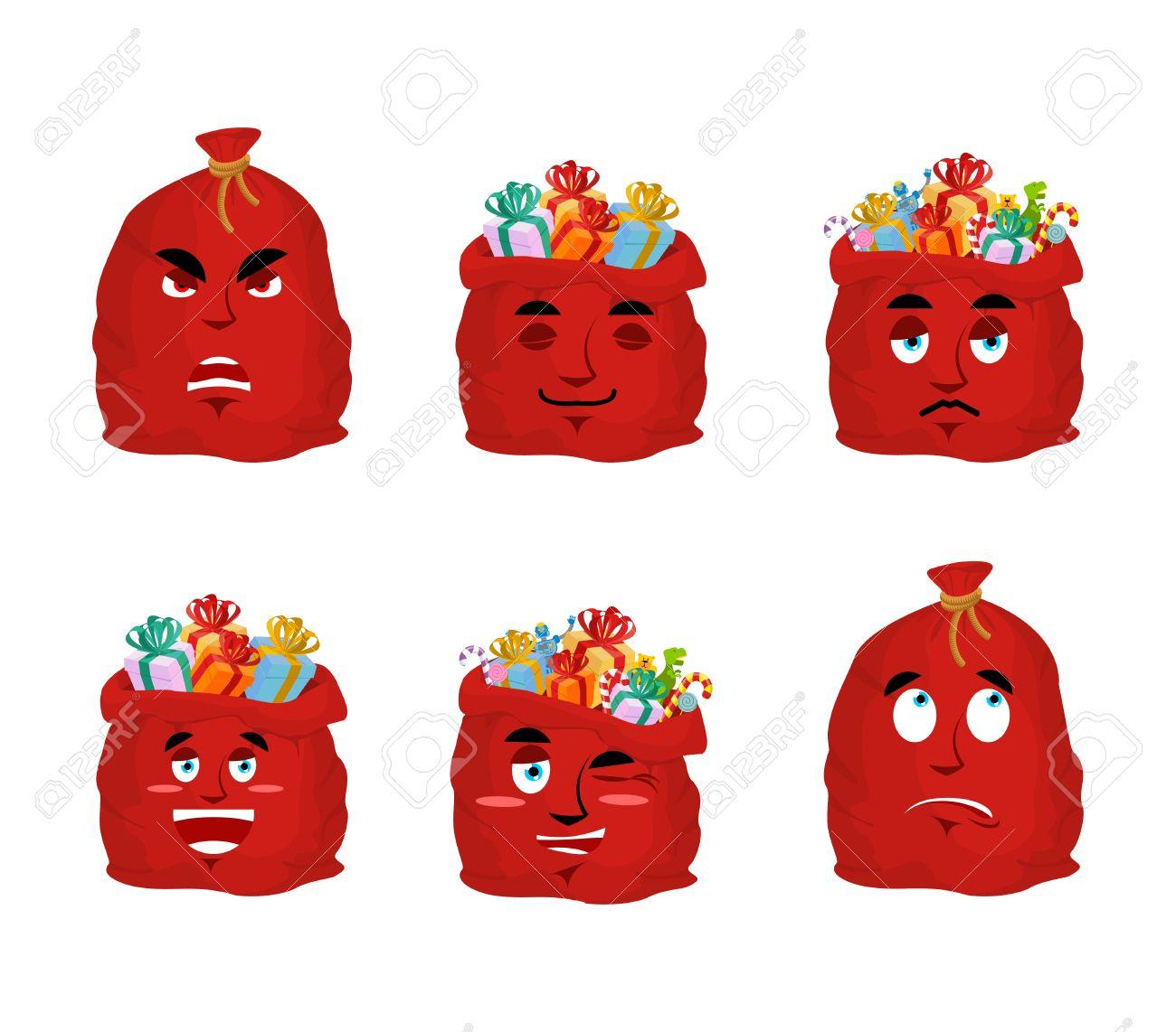Père Noël Sac Emoji Fixé. Sac De Noël Avec Des Cadeaux Collection