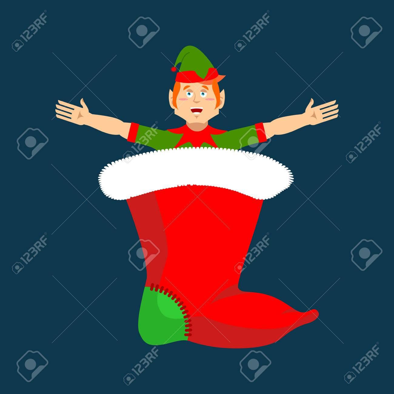 Weihnachts-Strumpf Und Sankt-Elf. Kleiner Claus Helfer ...
