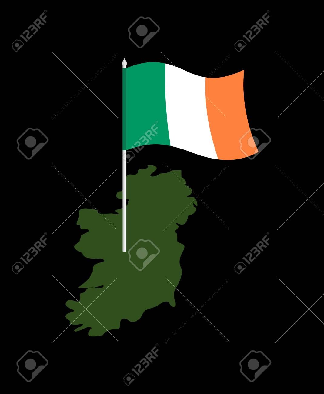 Ireland Map And Flag Irish Banner And Land Territory State