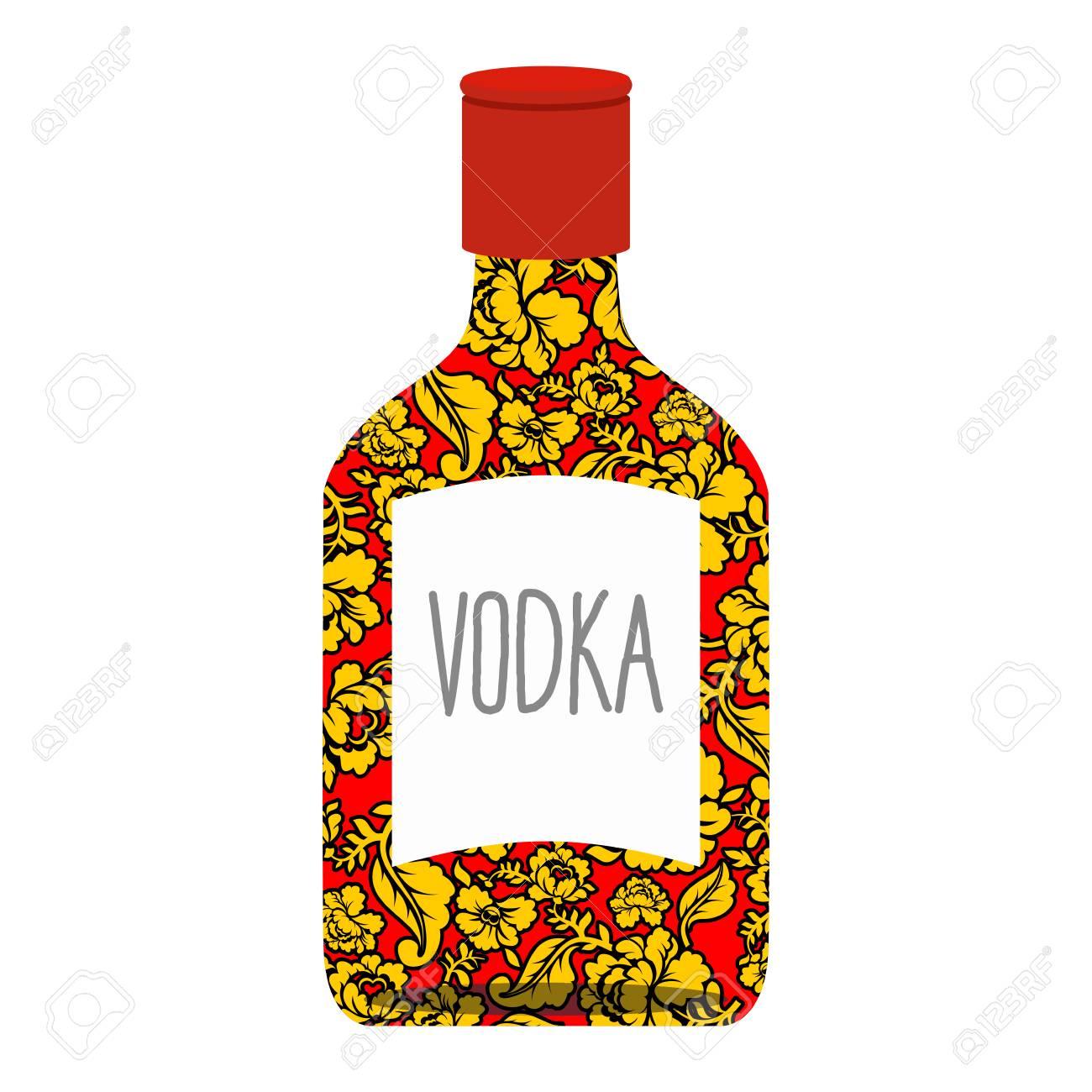 Russische Wodka-Flasche Khokhloma Malerei. Nationales Alkoholisches ...