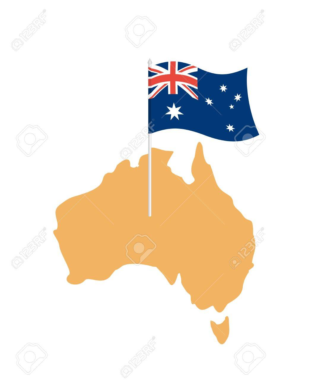 australia map and flag australian resource and land area state patriotic sign stock vector