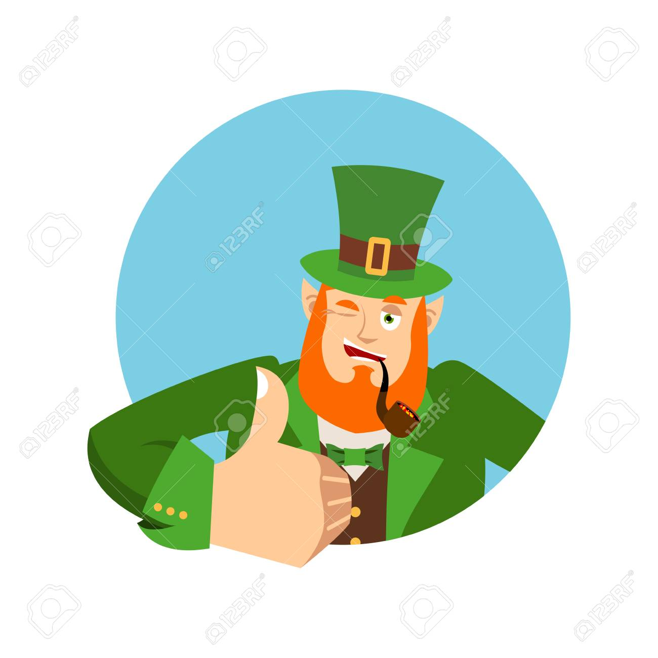 773ff1dc57c93 Irish elf emotions. Holiday in Ireland. Happy St.Patrick  s Day. Leprechaun  winks. Dwarf with red beard thumbs