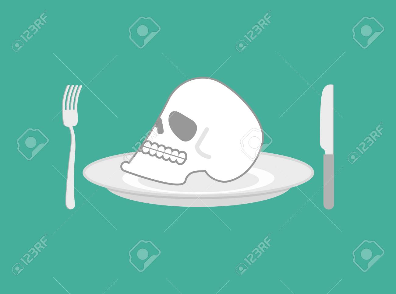 Skull On Plate. Head Of Skeleton On Dish. Knife And Fork Royalty ...