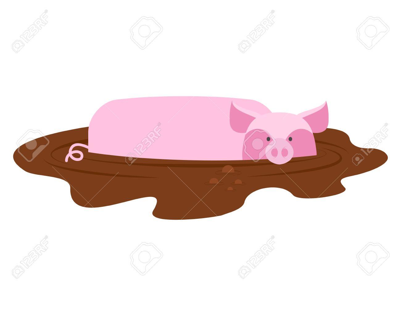 Cerdo En El Barro. Cerdito Sucio Y Guarro. Lechón De Animales De ...